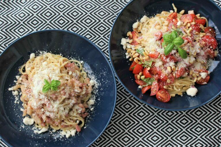 Pasta carbonara met spekjes of vegetarisch