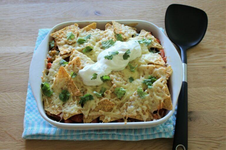 Nacho ovenschotel met zoete aardappel